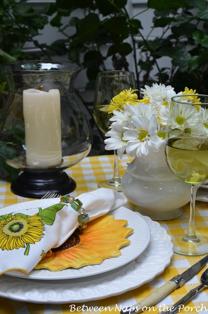 Spring Table with Sunflower Centerpiece Sunflower Plates and Sunflower Napkins