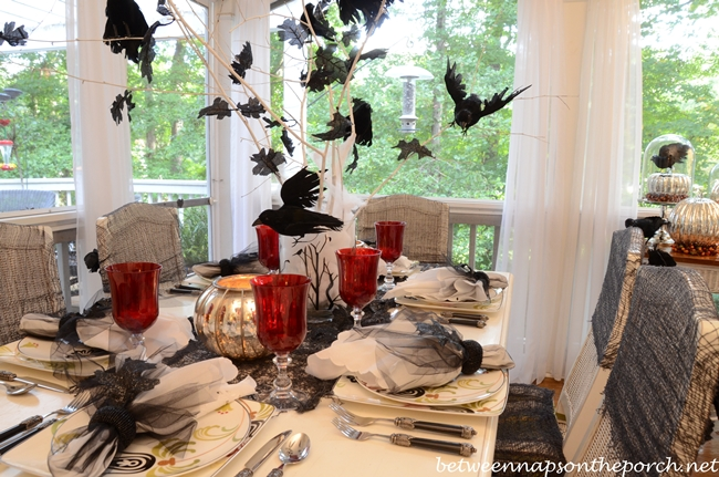 chairs at marshalls leather chair head protector halloween table setting tablescape with raven crow centerpiece