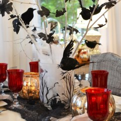 Beach Themed Kitchen Decor Black Table Set Halloween Setting Tablescape With Raven Crow Centerpiece