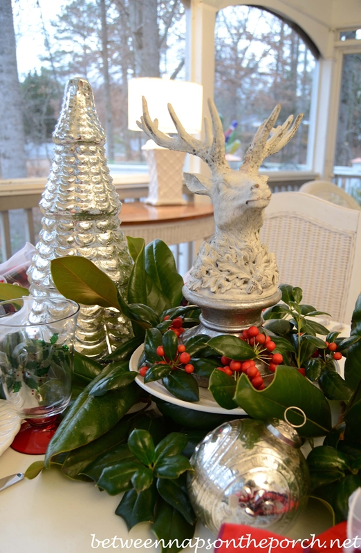 Christmas Tablescape Table Setting with Mercuryglass