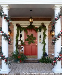 Decorating the Porch for Christmas with Natural Garland