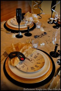A New Years Table Setting with Pottery Barn Clock Plates