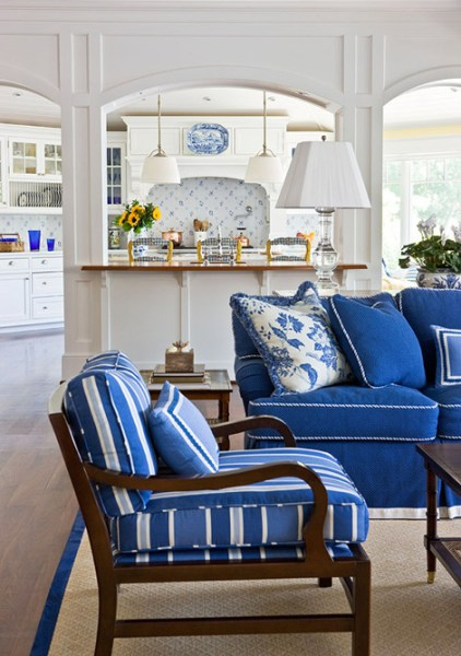 white and blue living room Blue and White Rooms