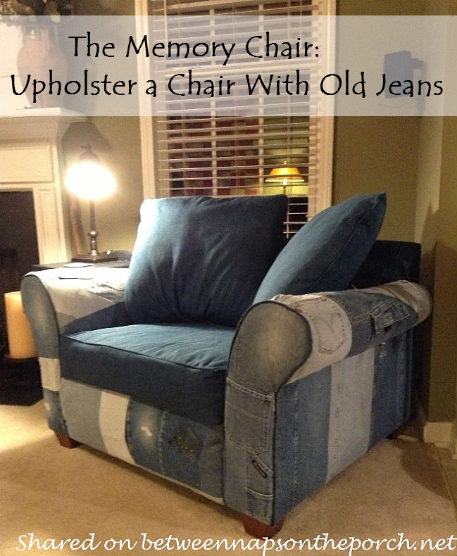 How to Upholster a Chair with Denim from Old Jeans