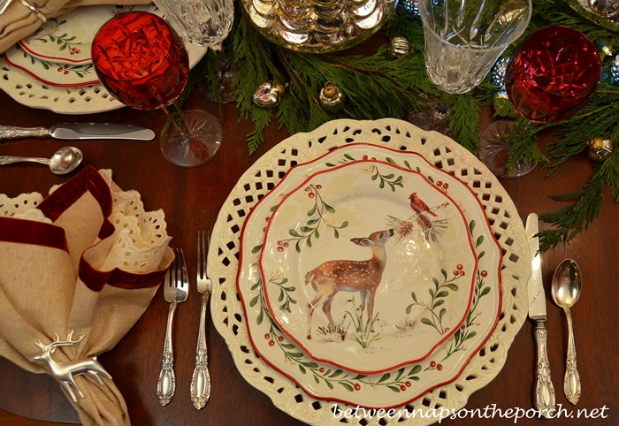 Christmas Table Setting Tablescape With Mercury Glass