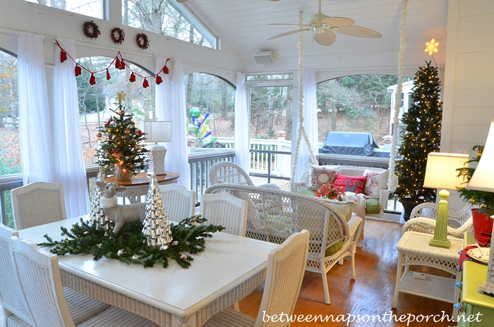 Screenedin Porch Decorated For Christmas