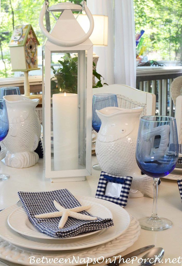 Blue And White Nautical Or Beach Themed Table Setting