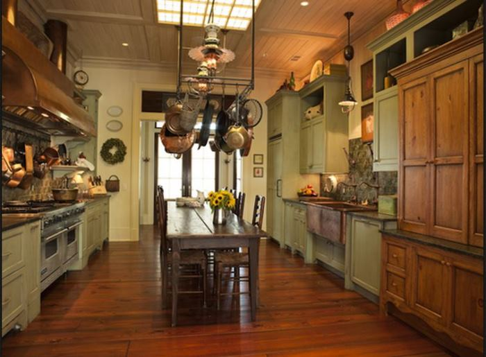 paula deen kitchen cabinets island corbels tour deen's savannah river home located on ...