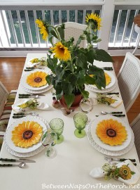 Spring Table with Sunflower Centerpiece, Sunflower Plates ...