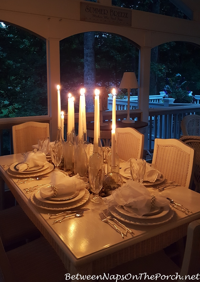 DIY Candlelight Centerpiece for Dinner on the Porch