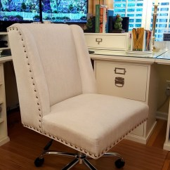 Accent Wingback Chairs Wedding Chair Covers Ipswich White Upholstered Desk With Nailhead