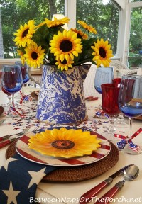 A Sunflower Centerpiece for a 4th of July Table Setting