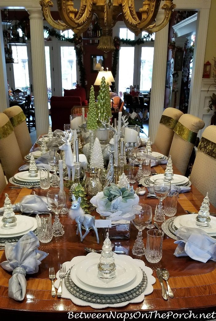 dining room chairs home goods chair mat for thick carpet combine green, white, silver and crystal a stunning, elegant table setting