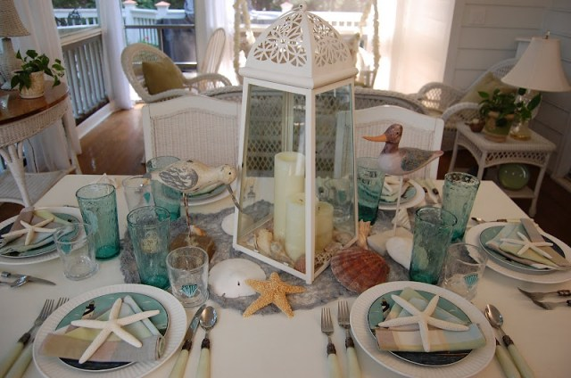 Beach Themed Table Setting with Sailboat Napkin Fold (10 Summer Seashell Decor Ideas)   #decor #decorating #seashells #beach #summer #sea