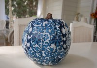 Decoupage a pumpkin to Coordinate with a Room's Design or ...