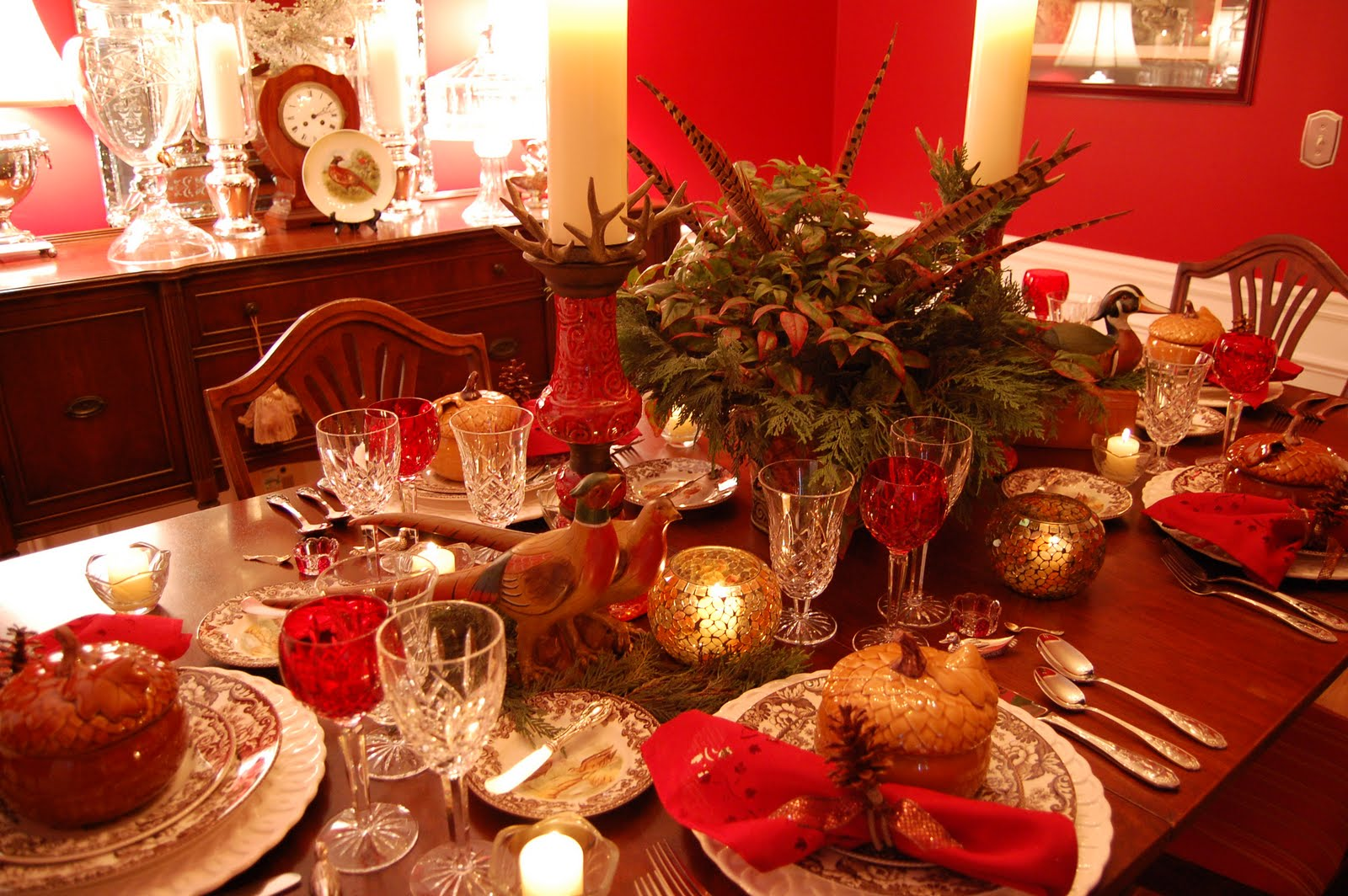 Thanksgiving Tablescape (Table Setting) With A Woodland