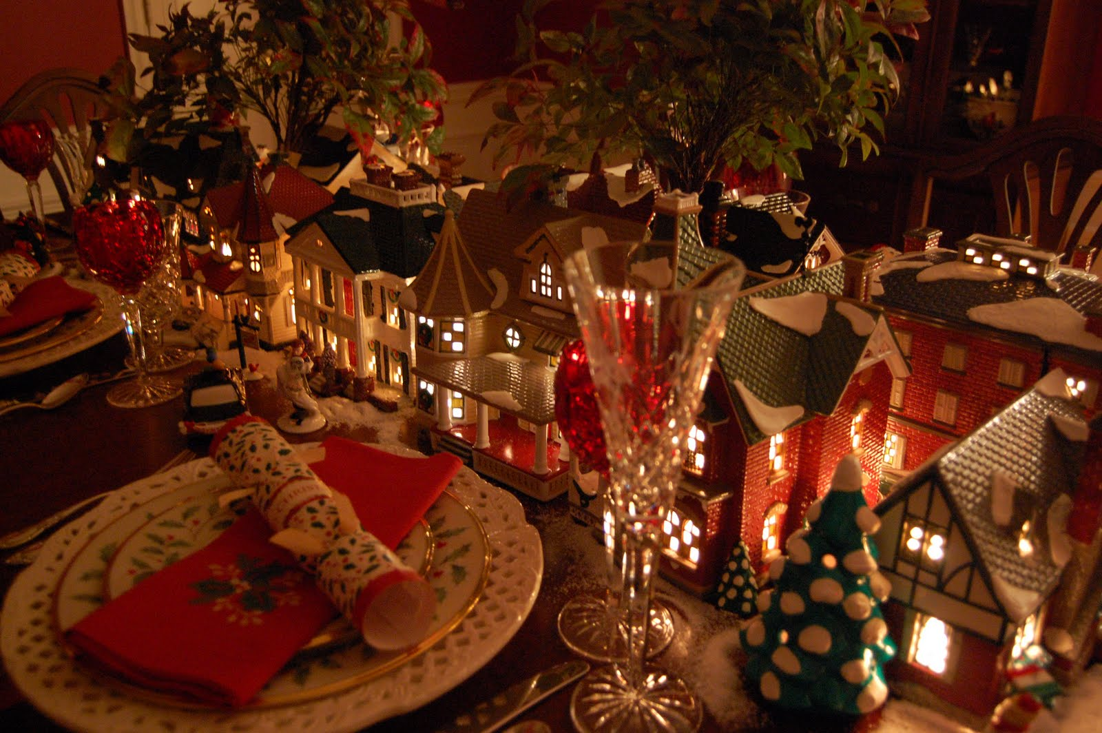 Christmas Table Setting Tablescape With Dept. 56 Lit