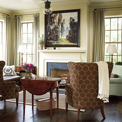 Christmas Mantel Decorated with Natural Greenery in Southern Living Idea House
