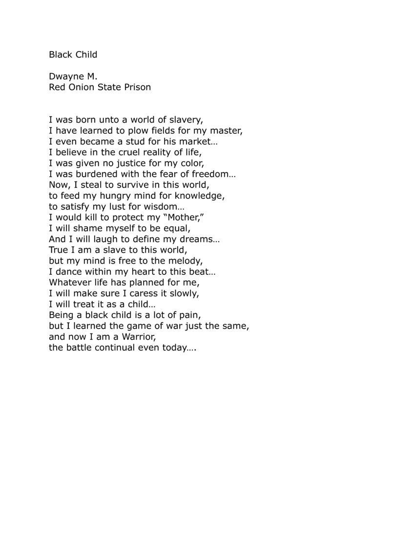 Black Child Poem : black, child, Between, Black, Child, Prison, Poetry, Workshop