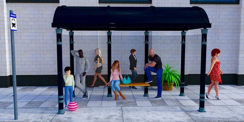 Bus Stop With Redered People