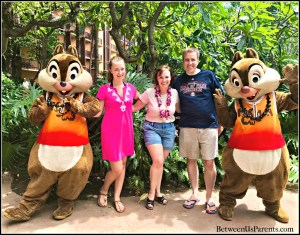 Chip and Dale at Disney's Aulani doing a character meet and greet. Here's the info you need to know about meeting characters at Aulani