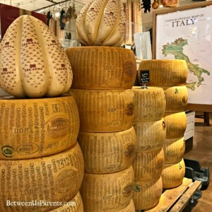 Wheels of Parmiggiano Reggiano at Eataly Chicago