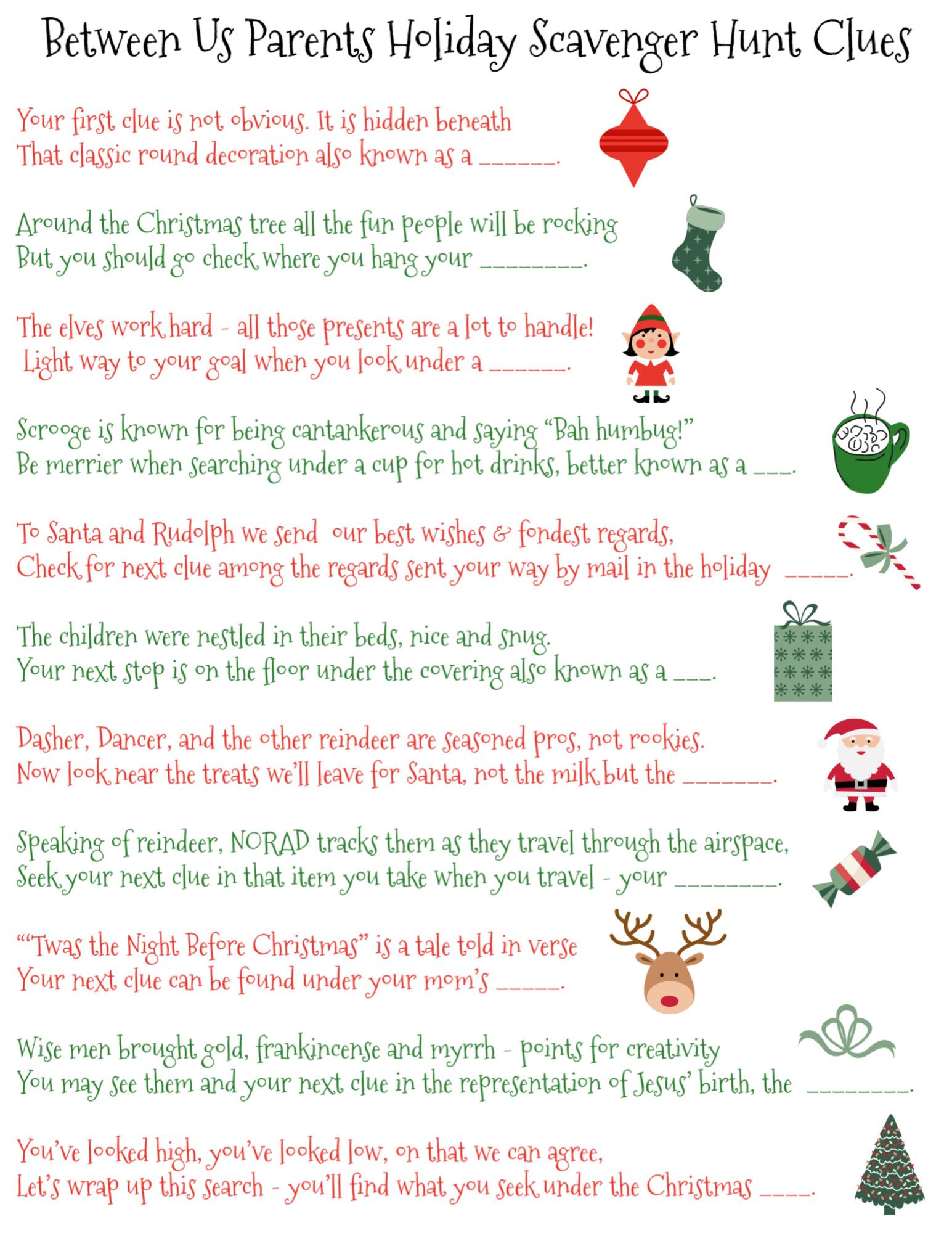 70 Printable Christmas Scavenger Hunt Clues Between Us Parents