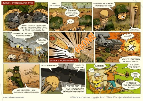 Kids playing WW2 soldiers games - 1970s comic page