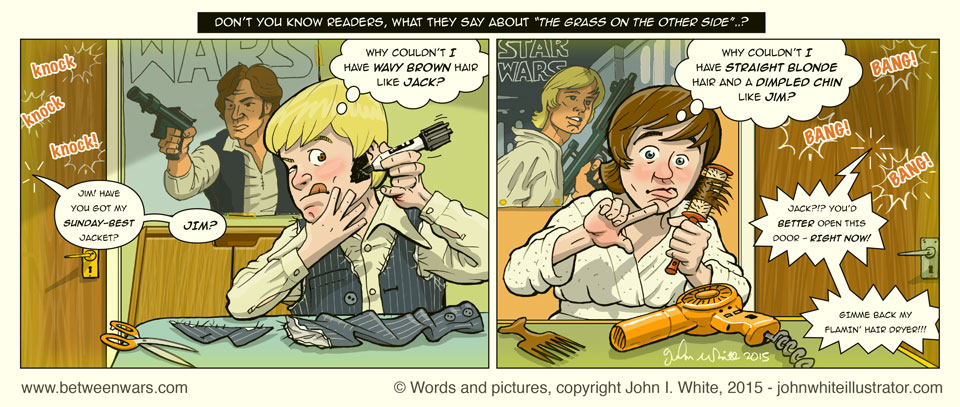 The 2 Star Wars fans try to imitate their favourite characters, Han Solo and Luke Skywalker - 1970s style Irish comic page