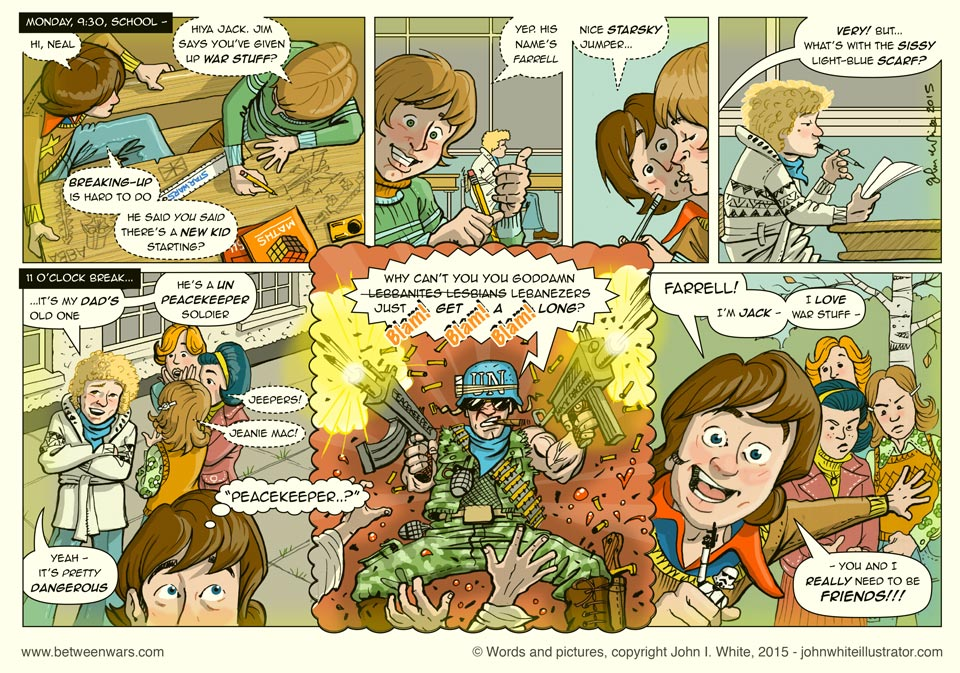 Jack gets to school and discovers something very exciting about the new kid - 1970s Irish style comic page