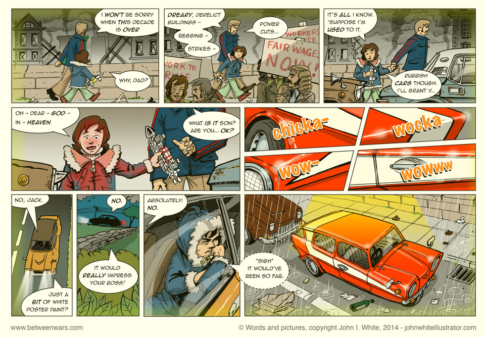 Jack, carrying his Space 1999 Eagle, and his dad are in the depressing Dublin city of the 1970s. Suddenly between the smoke and picket lines he spots the car of his dreams... Starsky's! - 1970s style comic page