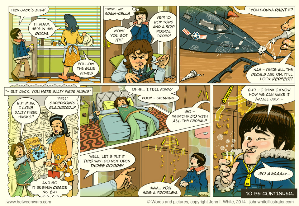 Adam visits Jack's house and sees the Supersonic Blackbird model kit that Jack got with breakfast cereal packet tops! But what to do with all of the horrible cereal? - 1970s Irish style comic page