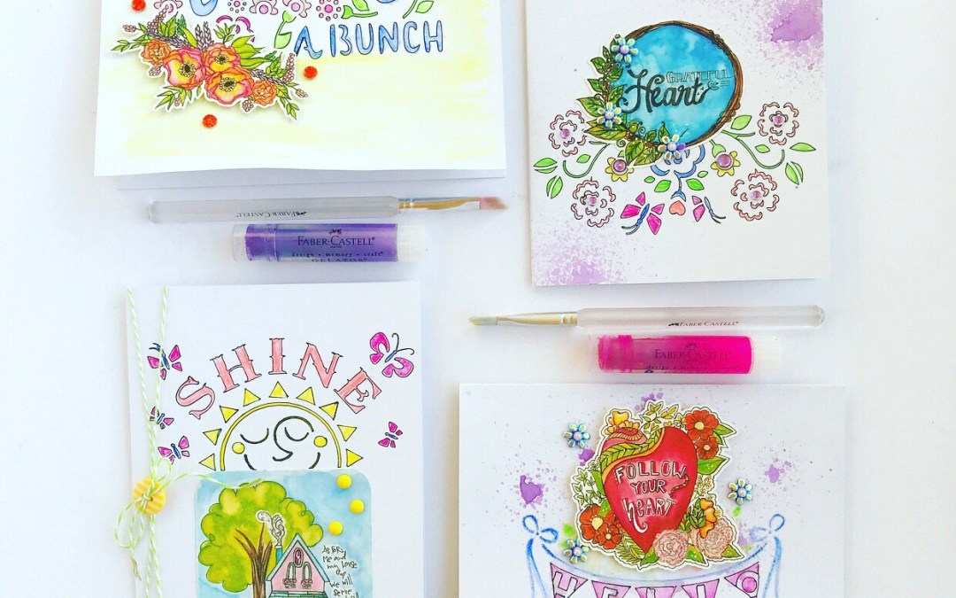 Creating Cards with Water Color Pencils and Die Cuts