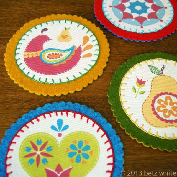 Felt And Fabric Coaster Tutorial - Betz White