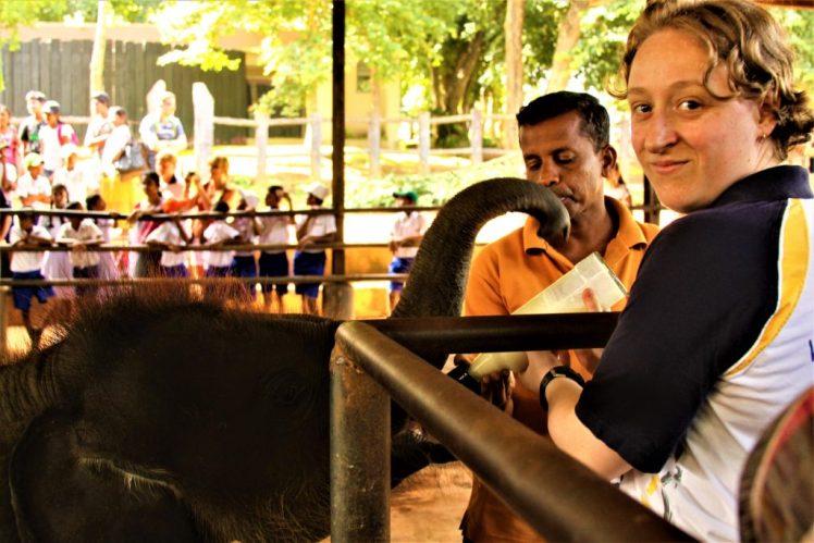 Bev & Shams Adventures feeding a baby elephant