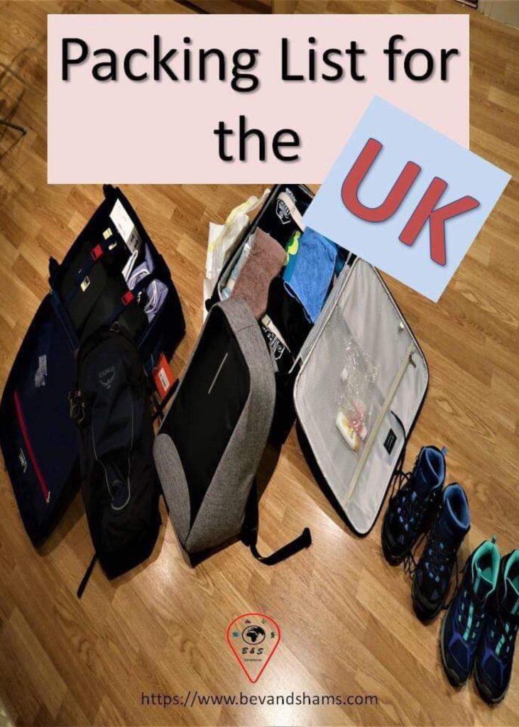 Packing list for UK