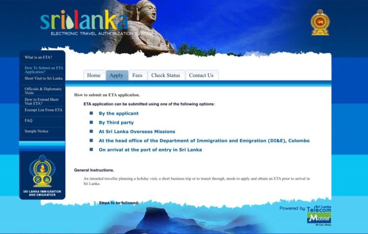 How to apply for a visa to Sri Lanka