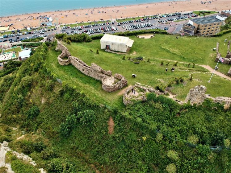 Hastings Castle with a birds eye view