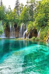 Beautiful waterfall in deep forest Croatia