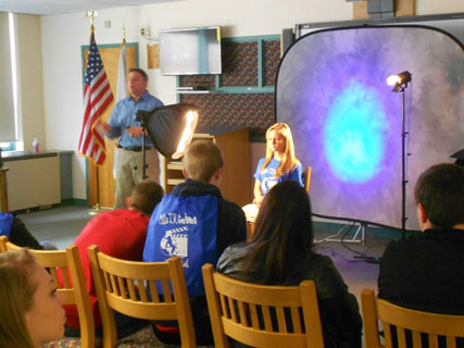 A workshop on 3-point studio lighting was conducted for the students