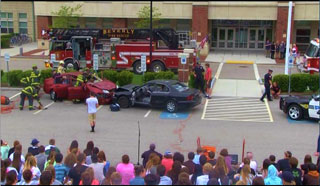 Seniors get a front row seat during the Mock Car Crash enactment at BHS