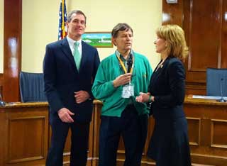 Mayor Mike Cahill and Mass Lt. Governor Karyn Polito at City Hall
