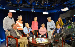 "Cast, crew and volunteers after taping the 100th ""Livin' the Good Life"" show"