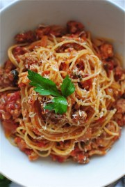 angel hair with tomato meat sauce