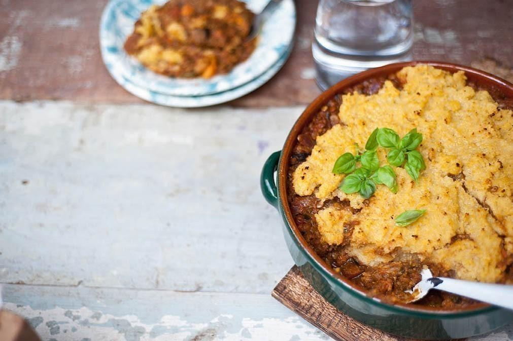 recept vegan ovenschotel met linzen en polenta
