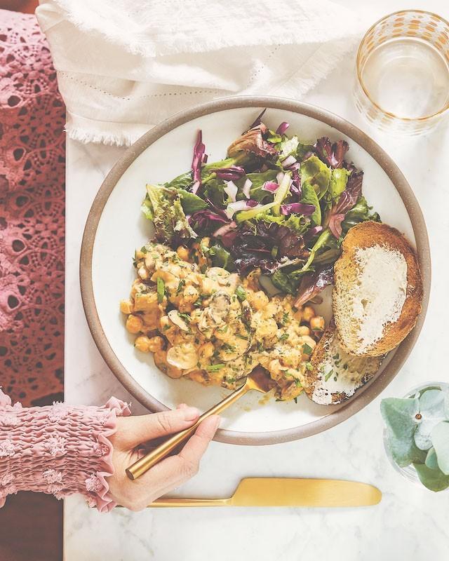 recette végétalienne Alfredo de pois chiches aux champignons