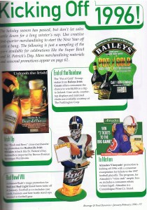 Page 1 of a first quarter merchandising guide in 1996.