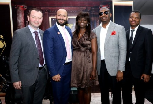 Diageo Brands Nigeria, Mr. Neil Comerford; Head of Reserve, Mr. Joe Nazzal; Head of Marketing, Diageo Brands Nigeria, Ms. Adenike Adebola; Joy Ambassador, Johnnie Walker, Don Jazzy and Corporate Relations Director, Guinness, Mr. Sesan Sobowale at the launch of Johnnie Walker 'JOY WILL TAKE YOU FURTHER' Campaign in Lagos.