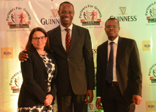 L-R Human Resource Director, Monica Peach, Supply Chain Director, Cephas Afebuameh and Corporate Relations Director, Sesan Sobowale, all of Guinness Nigeria at the Guinness Nigeria's Distributors Conference, tagged 'Partners for Growth' which held at Classique Events Centre, Lagos on October 22, 2015
