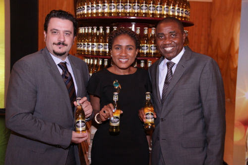 L-R: Marketing Director, NB PLC, Franco Maria Maggi, Senior Brand Manager, Strongbow, Ngozi Nkwoji and Sales Director, NB Plc, Hubert Eze at the Strongbow Trade Launch in Lagos